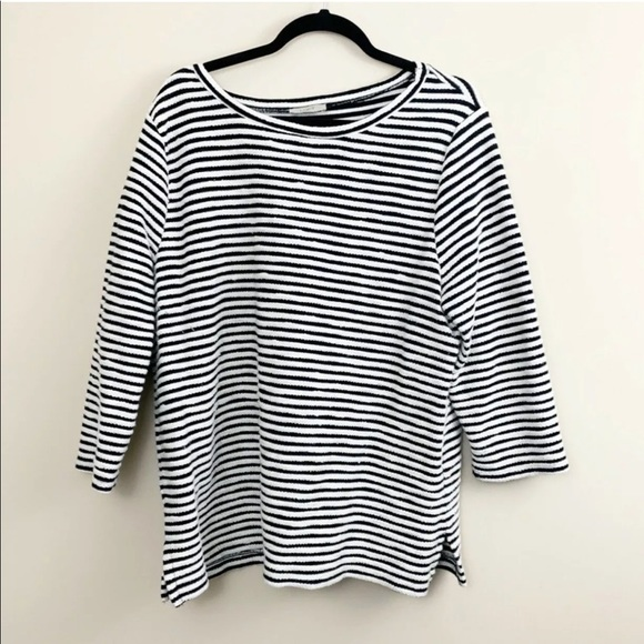 LOFT Outlet Tops - LOFT Outlet Black White Striped Top XL Sweatshirt